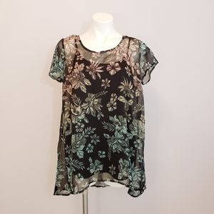 NWT Jessica Simpson Maternity Sheer Floral Blouse